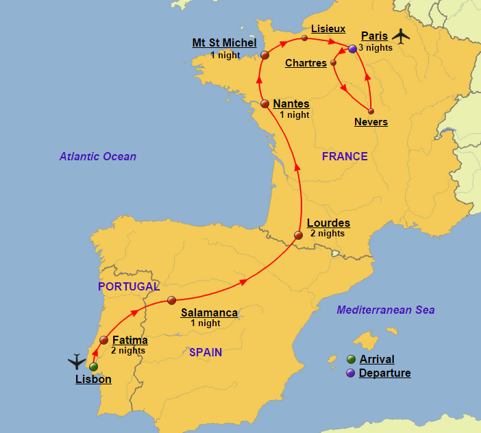 Day Portugal France And Spain Crown Of Bethlehem - Map of france and spain